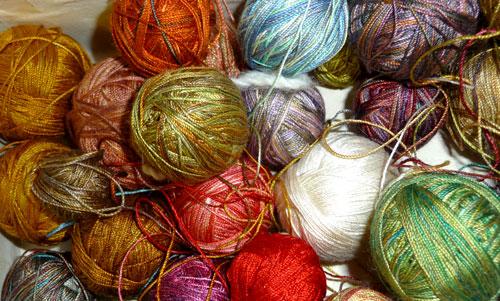 Dyed-silk-yarn